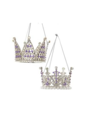 Crown Clear Stones Ornament by Kurt Adler - 2 Assorted Styles