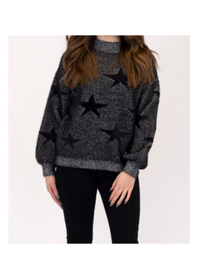 Lyla & Luxe Star Sweater in Charcoal & Black by Lyla + Luxe