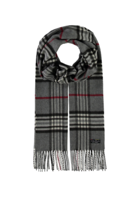 Fraas Mid Grey Plaid Cashmink Scarf