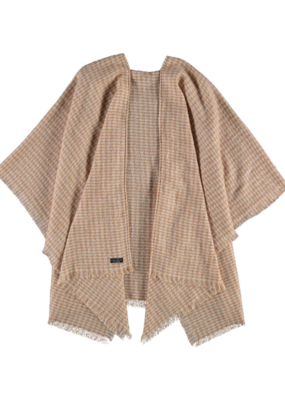Fraas Camel Houndstooth Boucle Ruana