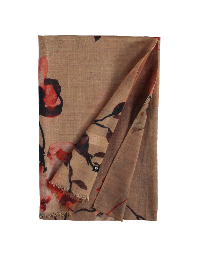 Fraas Metallic Floral Camel Scarf