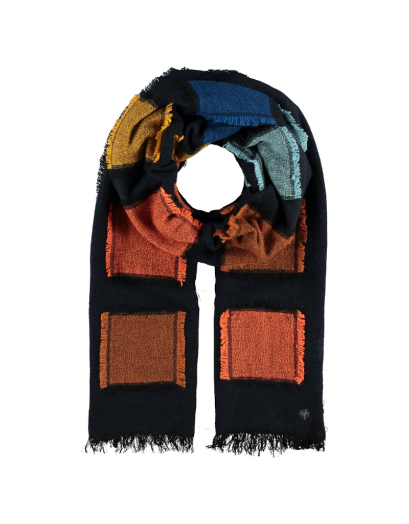 Fraas Clipped Squares Navy Scarf