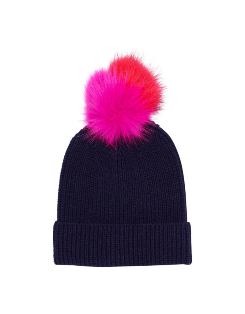 Ribbed Faux Fur Pom Hat Navy by Echo