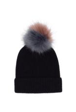 Ribbed Faux Fur Pom Hat Black by Echo