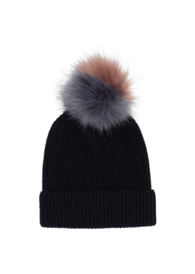 Ribbed Faux Fur Pom Hat Black by Echo