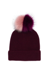 Ribbed Faux Fur Pom Hat Garnet by Echo