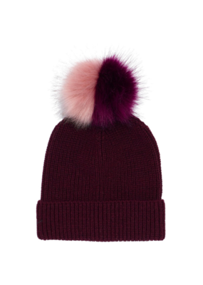Ribbed Faux Fur Pom Hat Garnet by Echo