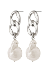 PILGRIM Gracefulness Freshwater Pearl Silver-Plated Earrings by Pilgrim