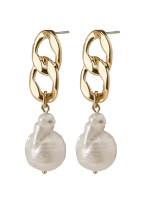 PILGRIM Gracefulness Freshwater Pearl Gold-Plated Earrings by Pilgrim