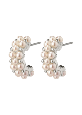 PILGRIM Warmth Silver-Plated White Earrings by Pilgrim