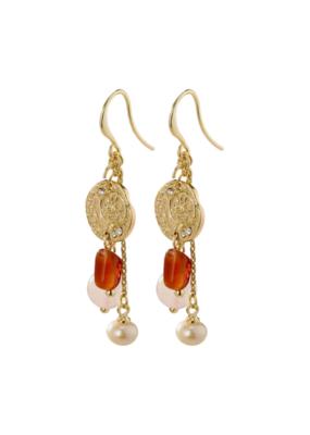PILGRIM Warmth Gold-Plated Brown Earrings by Pilgrim