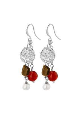PILGRIM Warmth Silver-Plated Brown Earrings by Pilgrim