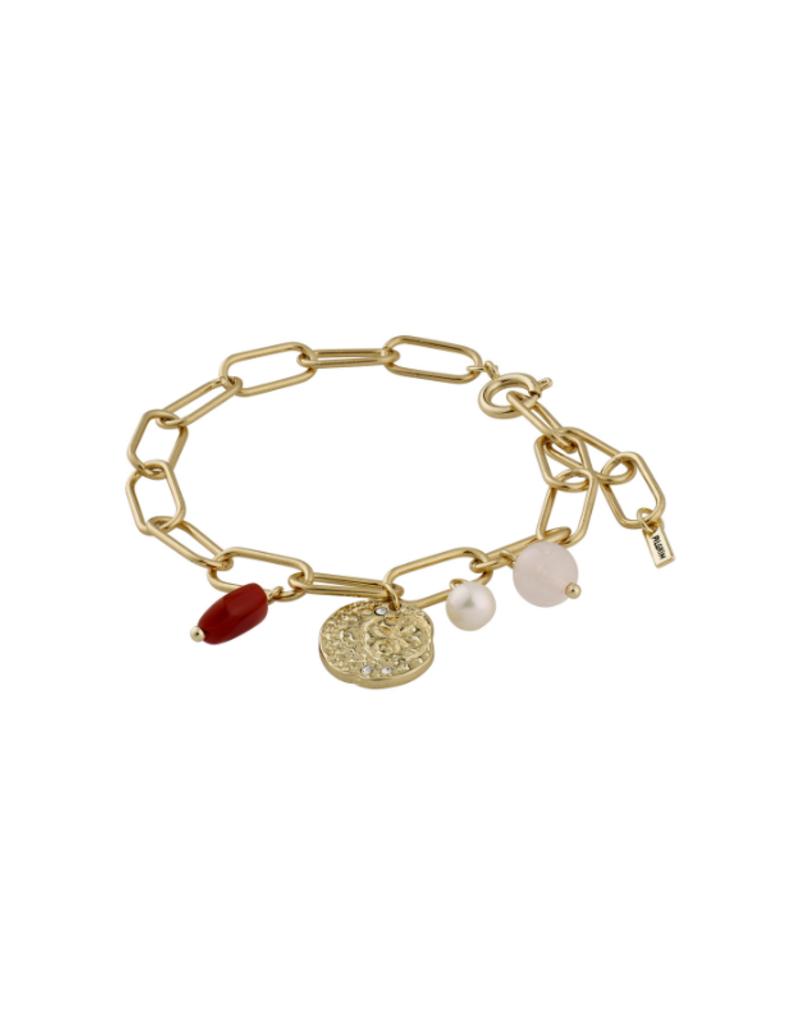 PILGRIM Warmth Gold-Plated Brown Bracelet by Pilgrim