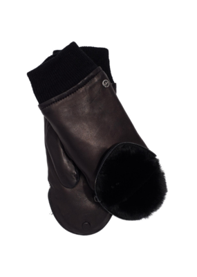 Zip Top Faux Fur Leather Mitten Black by Echo