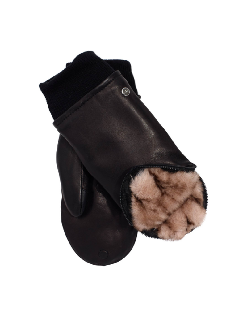 Zip Top Faux Fur Leather Mitten Black & Natural by Echo