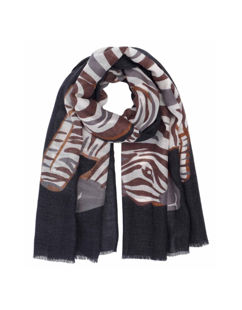Zebra Black Scarf by Echo