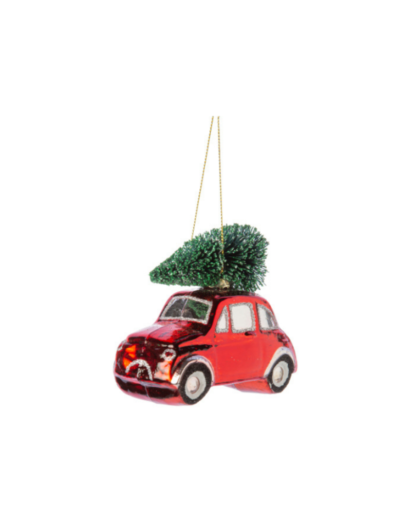 Glass Vintage Car Ornament Red