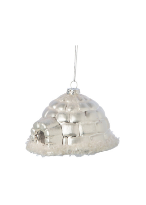 Glass Igloo Ornament Matte Silver