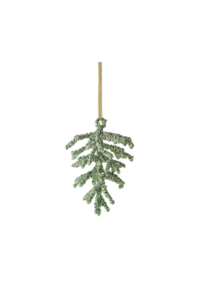 Beaded Pine Cone Ornament Green