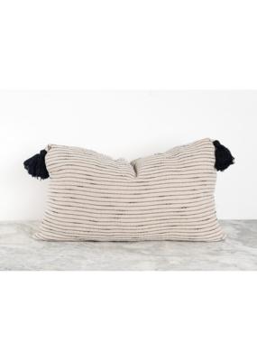 """Tara Pillow 14""""x22"""" in Black Tassel"""
