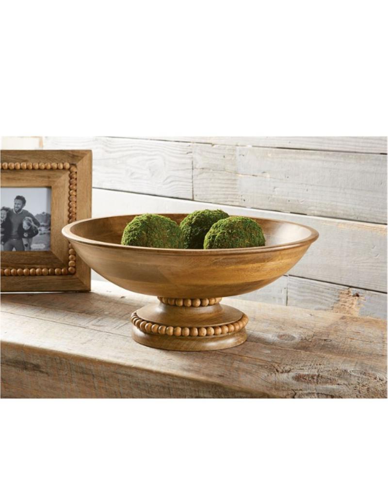 Beaded Wood Pedestal Bowl