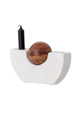 Bloomingville Marble Taper Candle Holder with Wood Ball