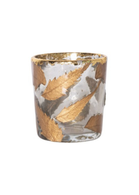 Small Glass Tealight Holder with Gold Leaves
