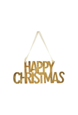 """""""Happy Christmas"""" Metal Ornament with Gold Finish"""