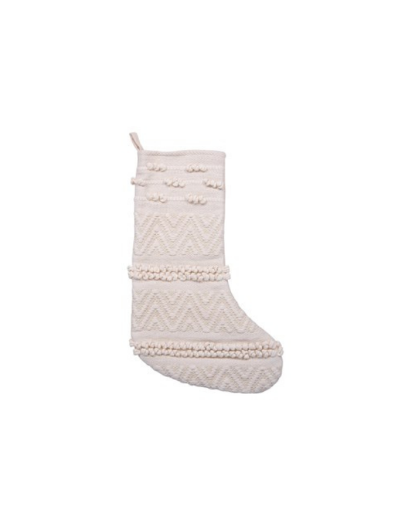 Christmas Stocking Woven Cotton in Cream
