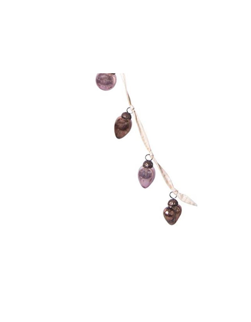 "72"" Glass Cone-Shaped Ornament Garland Plum & Bronze Finish"