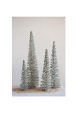 """23.5""""H Bottle Brush Tree Green with Glitter"""
