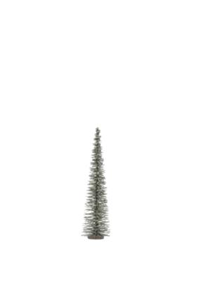 """11.75""""H Bottle Brush Tree Green with Glitter"""