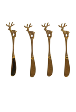 Set of 4 Brass Canape Knives with Reindeer