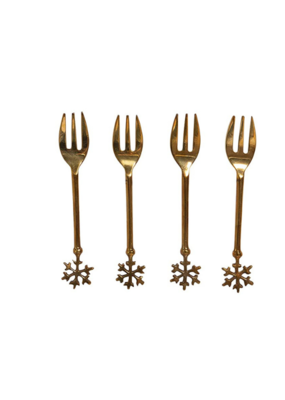 Set of 4 Brass Forks in Bag with Snowflake