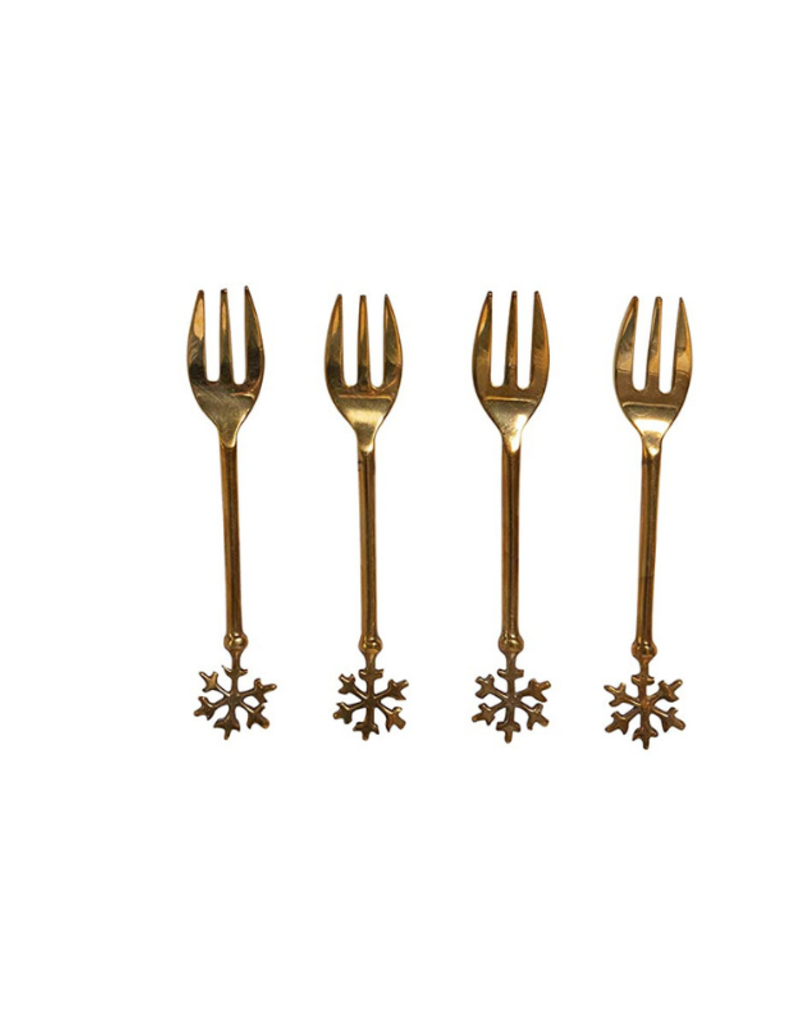 Brass Forks in Bag W/Snowflake Set of 4