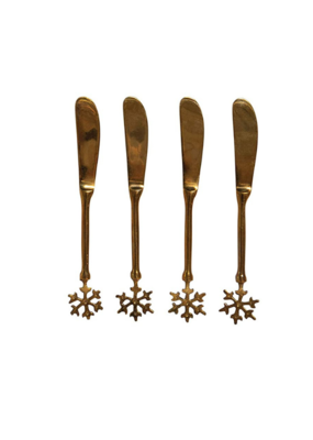 Set of 4 Brass Canape Knives In Bag with Snowflake