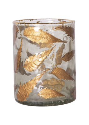 Medium Glass Votive Holder with Gold Leaves