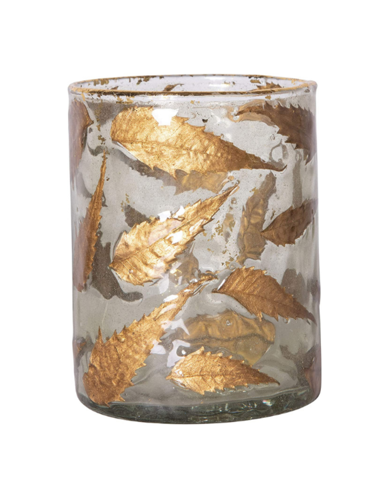 Medium Glass Votive Holder with Gold Leaves