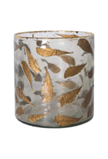 Large Glass Vase with Gold Leaves