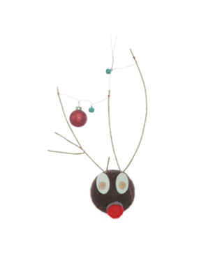 Wool Felt Deer Head Ornament with Antlers