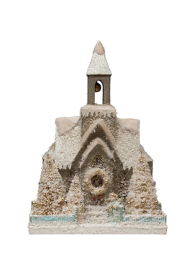 "15.25"" Paper Church with Bottle Brush Trees & LED"