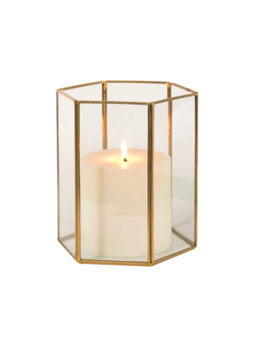 "7"" Hurricane Candle Holder in Gold"