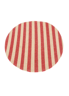 Round Placemat in Red Stripe