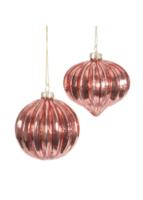 """3"""" Ribbed Red Ornament in 2 Assorted Styles"""