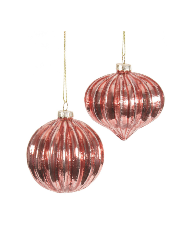 "3"" Ribbed Red Ornament in 2 Assorted Styles"