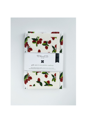 Ten & Co. Swedish Sponge Cloth & Towel Gift Set in Cranberry