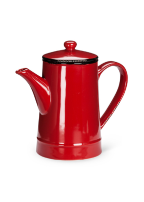 Enamel-Look Tall Stoneware Teapot in Red