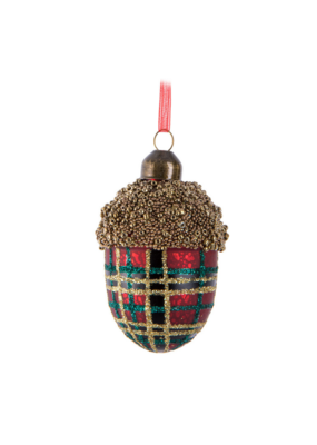 Tartan Acorn Ornament