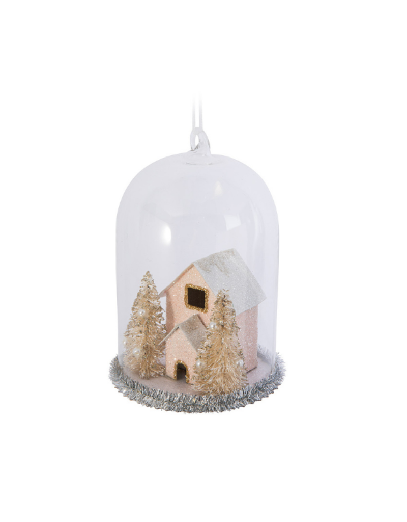 Pink House In Cloche Ornament