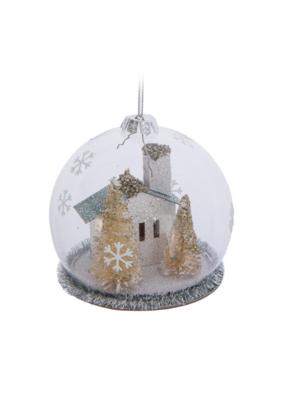 Paper House under Round Cloche Ornament